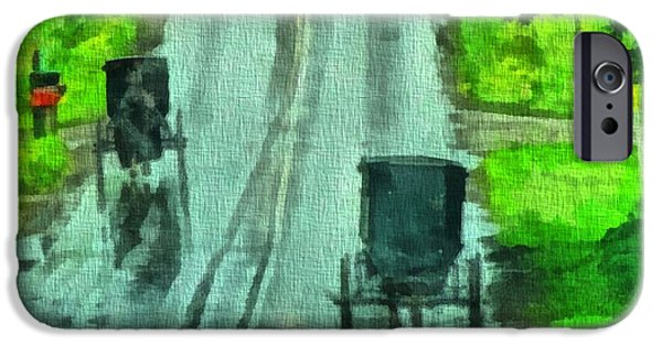 Family Time iPhone Cases - Amish Buggy Traffic iPhone Case by Dan Sproul