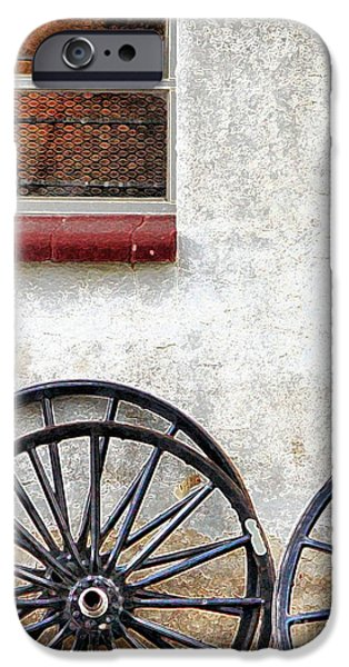 Amish Photographs Photographs iPhone Cases - Amish Buggy Wheels iPhone Case by Polly Peacock