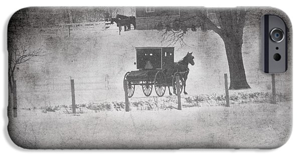 Horse And Buggy iPhone Cases - Amish Buggy Winter January 2014 iPhone Case by David Arment