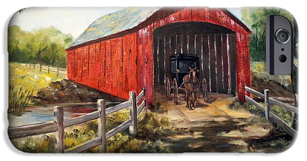 Covered Bridge iPhone Cases - Amish Country iPhone Case by Lee Piper