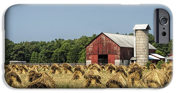 Amish Community Photographs iPhone Cases - Amish Country Wheat Stacks and Barn iPhone Case by Kathy Clark