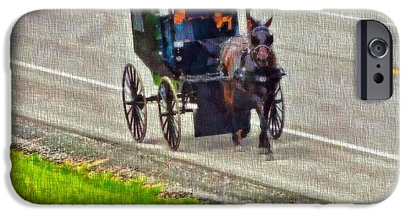Family Time iPhone Cases - Amish Family In Horse And Buggy iPhone Case by Dan Sproul