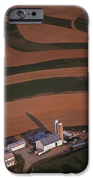 Amish farm and field aerial iPhone Case by Blair Seitz