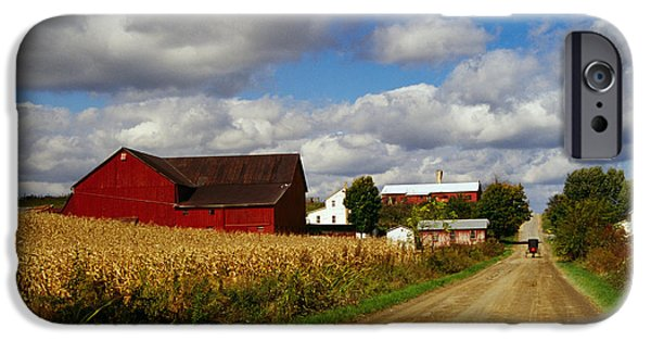 Rural iPhone Cases - Amish Farm Buildings And Corn Field iPhone Case by Panoramic Images