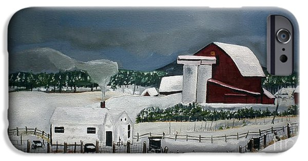 Red Barn In Winter iPhone Cases - Amish Farm - Winter - Michigan iPhone Case by Jan Dappen