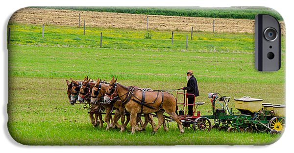 Amish Photographs iPhone Cases - Amish Farmer iPhone Case by Guy Whiteley