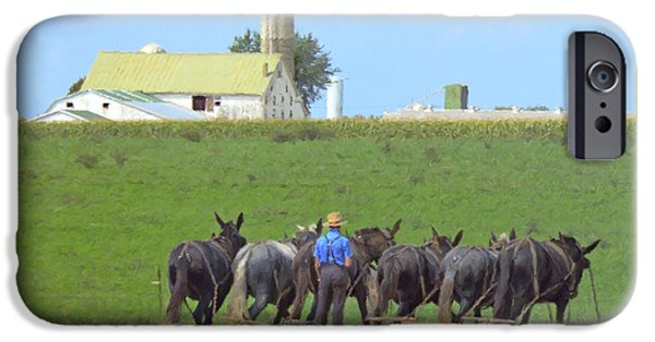 Amish iPhone Cases - Amish Farmer Working the Land iPhone Case by Diane Diederich