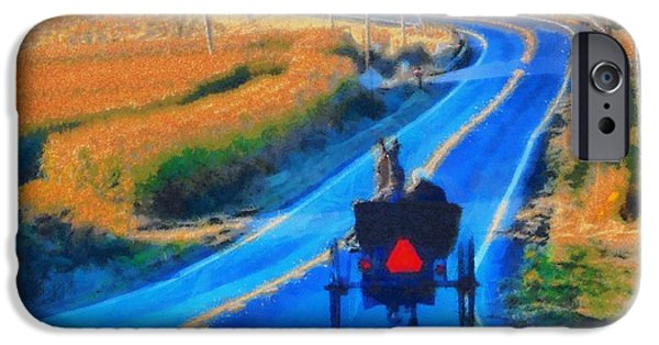 Horse And Buggy Mixed Media iPhone Cases - Amish Horse And Buggy In Autumn iPhone Case by Dan Sproul