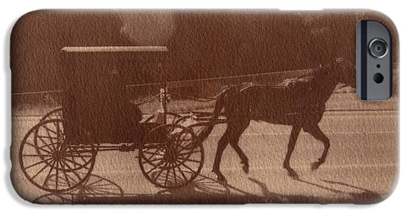 Horse And Buggy Mixed Media iPhone Cases - Amish Horse and Carriage iPhone Case by Scott Wittenburg