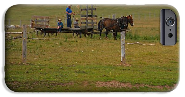 Amish Family iPhone Cases - Amish Man And Two Sons On The Farm iPhone Case by Dan Sproul