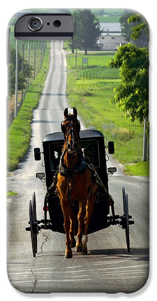 Amish Photographs iPhone Cases - Amish Morning Commute iPhone Case by Lawrence Boothby