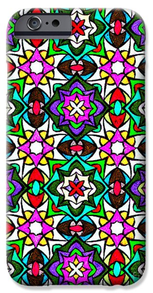 Abstract Digital Art Drawings iPhone Cases - Amish Stained Glass Art Print iPhone Case by Spirit Baker