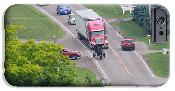 Horse And Buggy Photographs iPhone Cases - Amish Traffic Jam iPhone Case by Dan Sproul