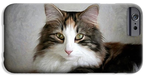 Pet Portraits Digital Art iPhone Cases - Ammis iPhone Case by Gun Legler