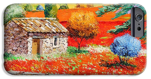 Provence Village iPhone Cases - Among the Poppies iPhone Case by Jean-Marc Janiaczyk