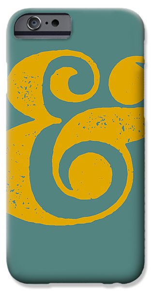 Gig iPhone Cases - Ampersand Poster Blue and Yellow iPhone Case by Naxart Studio