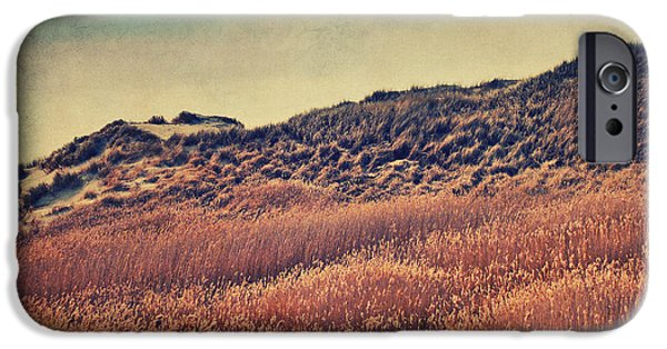 Flying Seagull Mixed Media iPhone Cases - Amrum Dunes iPhone Case by Angela Doelling AD DESIGN Photo and PhotoArt