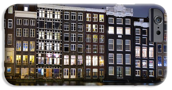 Culture iPhone Cases - Amsterdam at night iPhone Case by Jane Rix