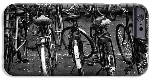 Monotone iPhone Cases - Amsterdam Bike View mono iPhone Case by John Rizzuto