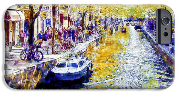 The Trees Mixed Media iPhone Cases - Amsterdam Canal watercolor iPhone Case by Marian Voicu