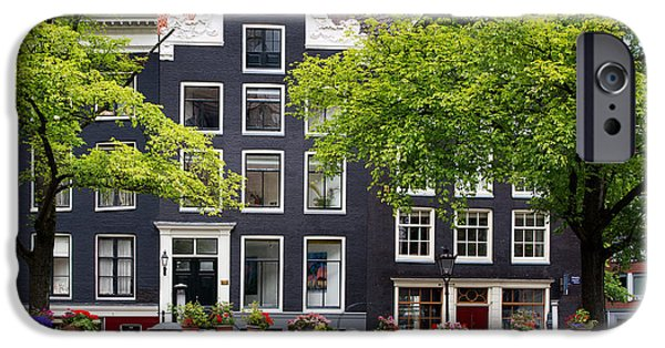 Facade iPhone Cases - Amsterdam canal with houseboat iPhone Case by Jane Rix