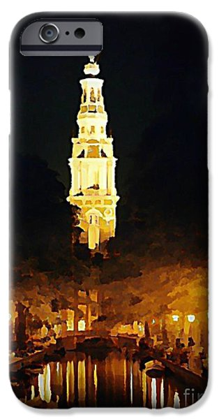 Halifax Art Work iPhone Cases - Amsterdam Church and Canal iPhone Case by John Malone