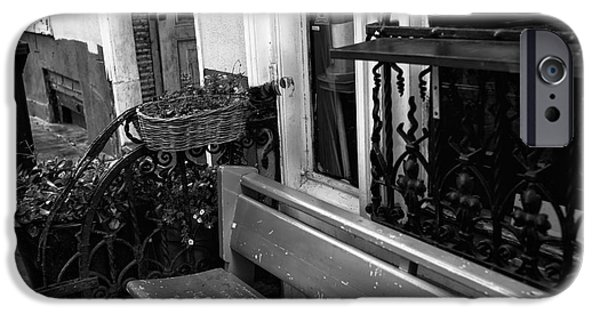 Monotone iPhone Cases - Amsterdam House Bench mono iPhone Case by John Rizzuto