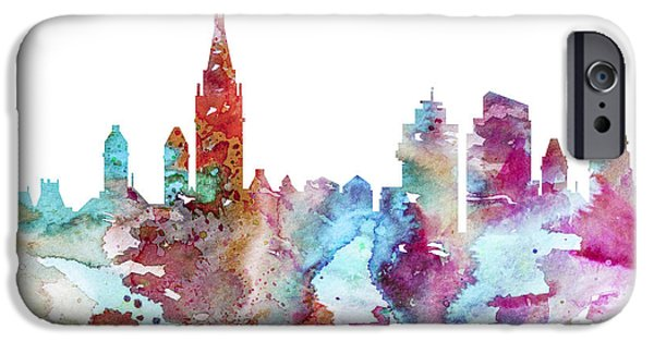 Maps Paintings iPhone Cases - Amsterdam iPhone Case by Lyubomir Kanelov