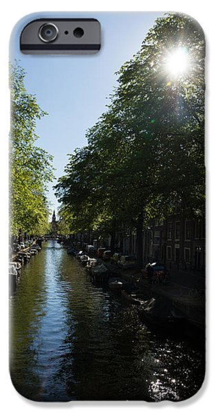 Canal Street Line iPhone Cases - Amsterdam Spring - Green Sunny and Beautiful iPhone Case by Georgia Mizuleva