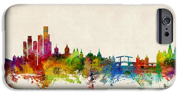 Swiss iPhone Cases - Amsterdam The Netherlands Skyline iPhone Case by Michael Tompsett