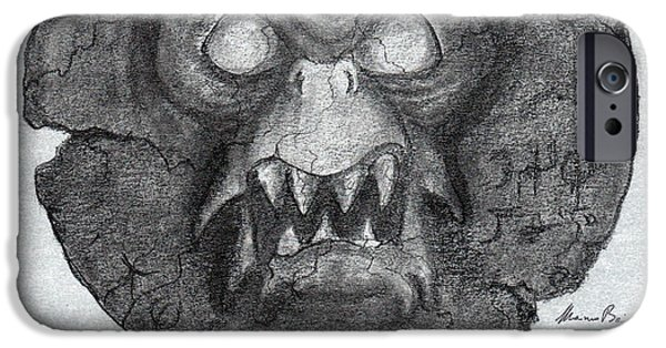 Eerie Drawings iPhone Cases - AMULET from DARK WATERS iPhone Case by Mariano Baino