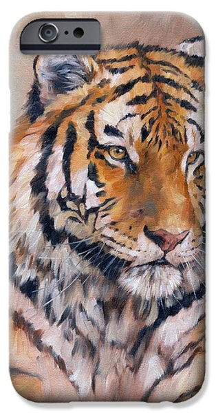 David iPhone Cases - Amur Tiger iPhone Case by David Stribbling
