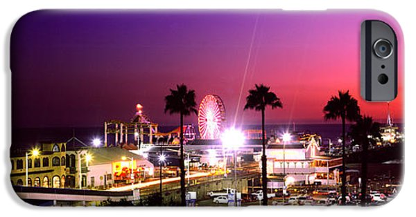 Santa iPhone Cases - Amusement Park Lit Up At Night, Santa iPhone Case by Panoramic Images