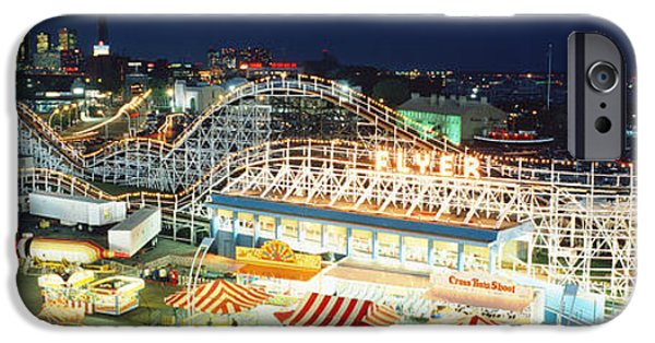 Rollercoaster Photographs iPhone Cases - Amusement Park Ontario Toronto Canada iPhone Case by Panoramic Images