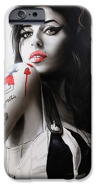 Famous Musician iPhone Cases - Amy iPhone Case by Christian Chapman Art