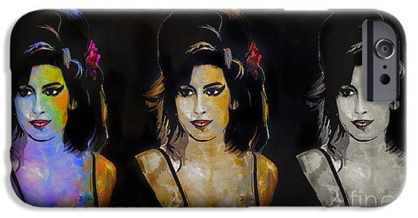 Hairstyle Digital iPhone Cases - Amy Jade Winehouse iPhone Case by Andrzej Szczerski