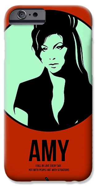 Singer Mixed Media iPhone Cases - Amy Poster 1 iPhone Case by Naxart Studio