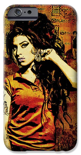 Beauty Mixed Media iPhone Cases - Amy Winehouse 24x36 MM Reg iPhone Case by Dancin Artworks