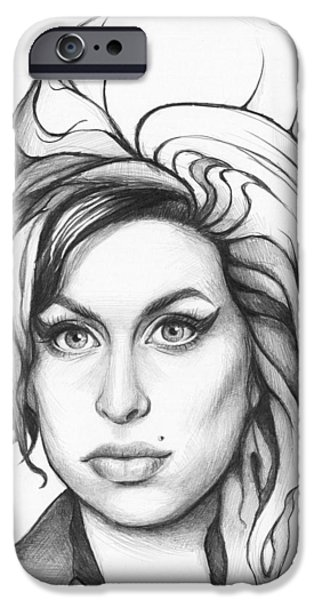 Celebrity Drawings iPhone Cases - Amy Winehouse iPhone Case by Olga Shvartsur