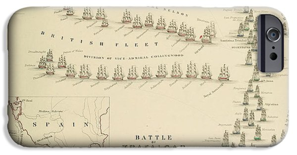 Vivid Drawings iPhone Cases - An 1848 plan of the fleet positions at the Battle of Trafalgar iPhone Case by Celestial Images