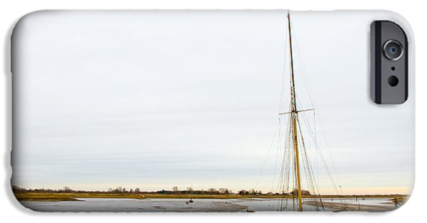 Pirate Ships iPhone Cases - an abandoned old sailboat at Maldon in Essex iPhone Case by Fizzy Image