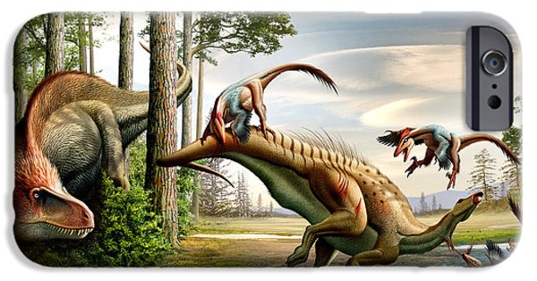 Food Paining iPhone Cases - An Acrocanthosaurus Observes iPhone Case by Mohamad Haghani