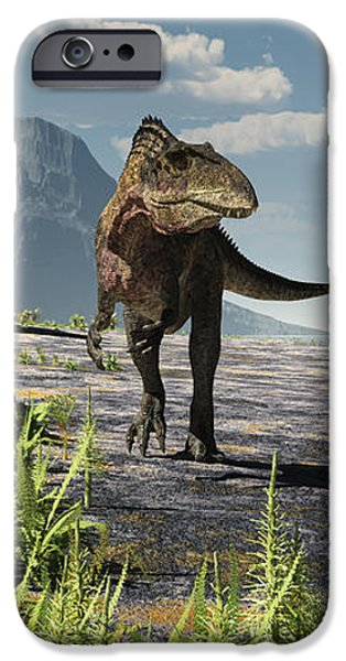 An Acrocanthosaurus Roams An Early iPhone Case by Arthur Dorety
