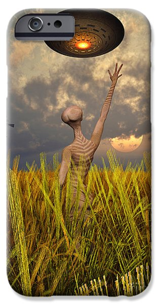Field. Cloud Digital Art iPhone Cases - An Alien Being Directing A Ufo iPhone Case by Mark Stevenson