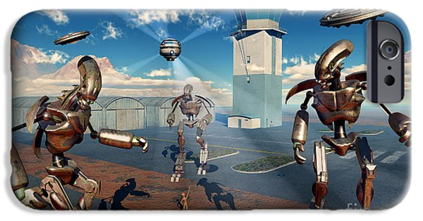 Strange iPhone Cases - An Alien Being With Giant Robots iPhone Case by Mark Stevenson