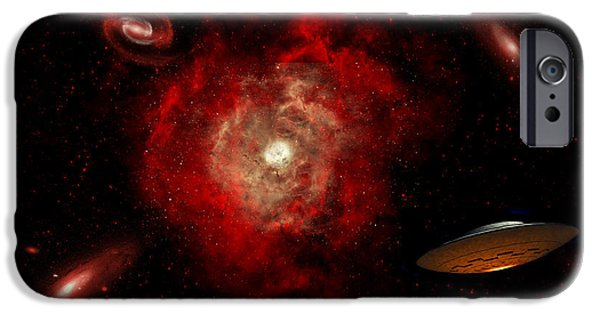 Intergalactic Space iPhone Cases - An Alien Flying Saucer Traveling iPhone Case by Stocktrek Images