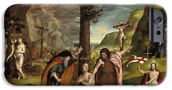 Old And New iPhone Cases - An Allegory of the Old and New Testaments iPhone Case by Hans Holbein the Younger