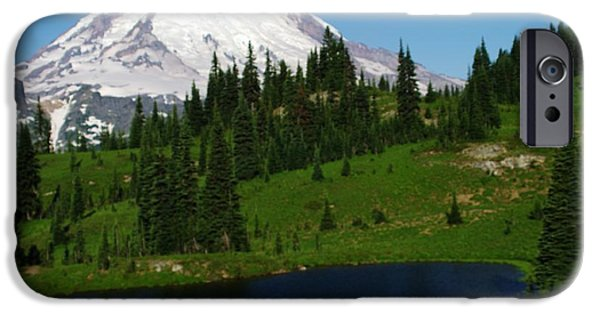 Snow Melt iPhone Cases - An Alpine Lake Foreground Mt Rainer iPhone Case by Jeff  Swan
