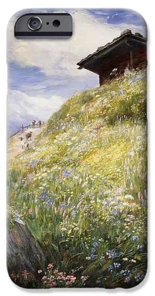 Swiss Paintings iPhone Cases - An Alpine Meadow Switzerland iPhone Case by John  MacWhirter