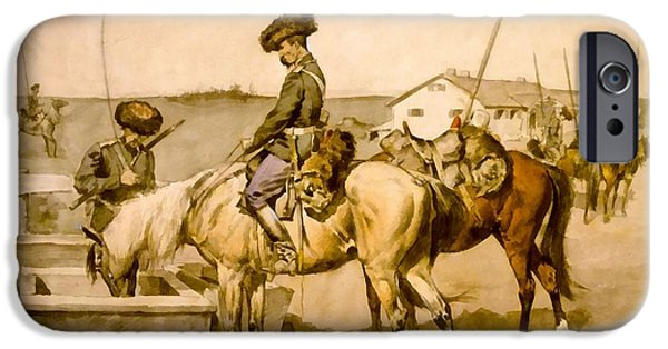 The Horse Digital Art iPhone Cases - An Amoor Cossack iPhone Case by Frederic Remington